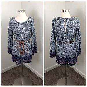 Papermoon blue printed romper with belt